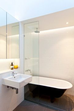 North Bondi House - Contemporary - Bathroom - Sydney - Angus Mackenzie Architect I like this simple sink with a storage shelf above and storage in the mirror. I also like the use of lighting in this apartment