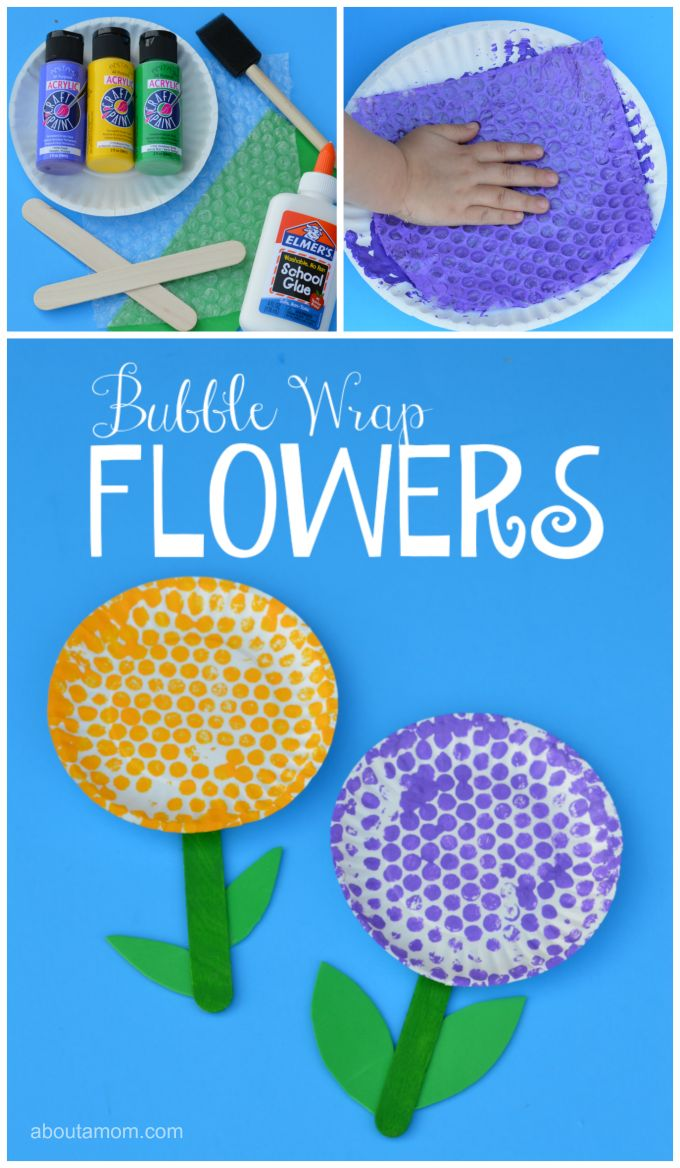 Fun springtime flower craft for kids using paper plates & bubble wrap.