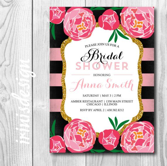 Pink Peony Bridal Invitation  bridal shower pink party invite
