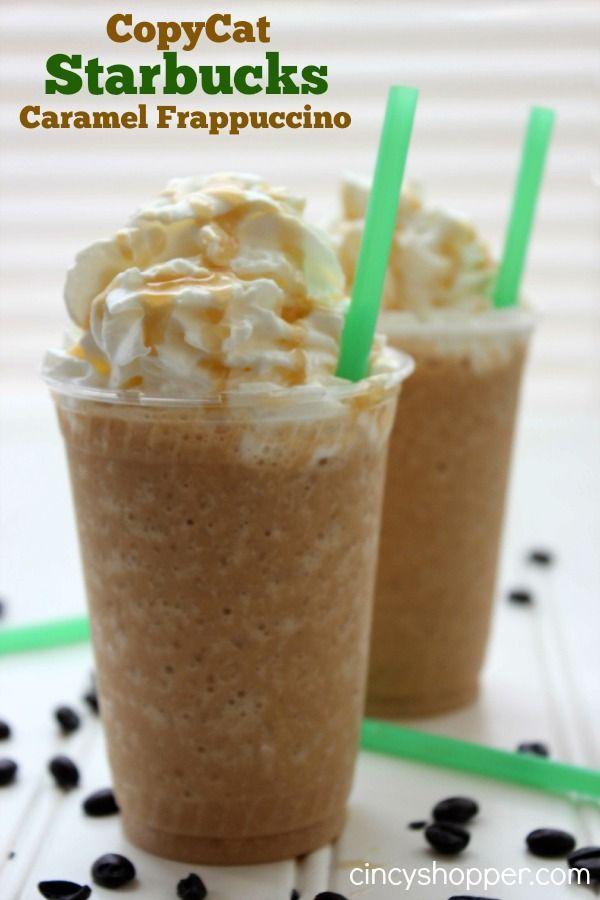 Caramelo, Frappuccino: 1 taza doble de Cafe (frío) 3/4 de taza de leche 3 cucharadas de azúcar 2 taza de hielo 1/8 cucharadita de crema batida Rocíe con Salsa de caramelo INSTRUCCIONES: Ponga café frío, leche, azúcar, hielo, un chorrito de caramelo y crema en la licuadora, mezcle hasta que esté suave. Vierta en la copa y la parte superior con crema batida y chorrito de caramelo