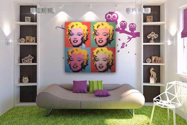 Sala decoraci n pop art iluminada con focos en color - Decoracion pop art ...