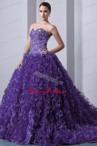 Purple A-Line / Princess Sweetheart Brush Train Beading and Ruffles Quinceanea Dress