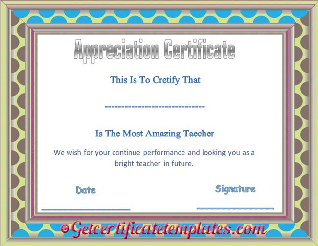 37 best certificate of appreciation templates images on pinterest certificate of appreciation template for amazing teacher pronofoot35fo Choice Image