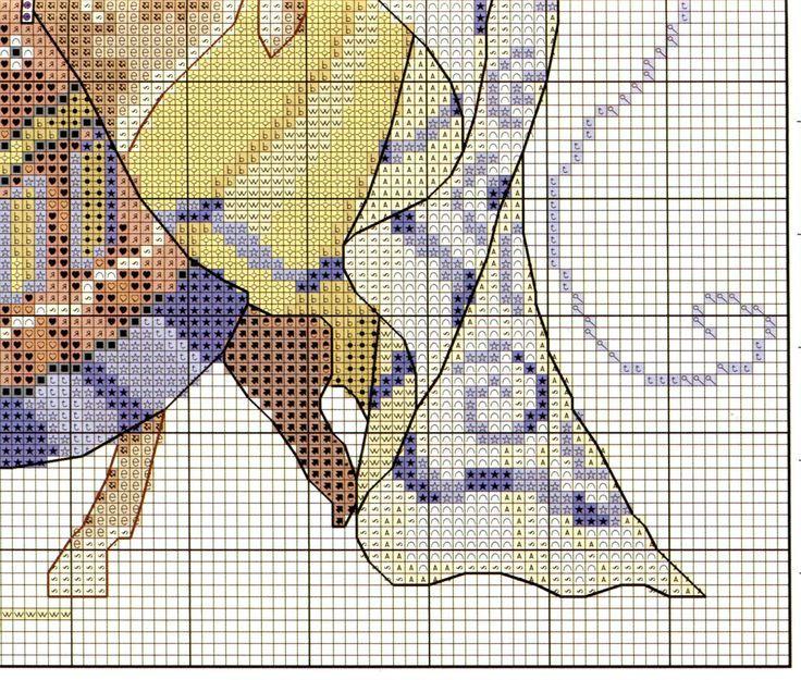 0 point de croix femme africaine, antilope et papillons - cross stitch african girl, antelope and butterflies 5