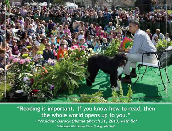 President Obama and his dog are reading to children on Easter Sunday 2013.