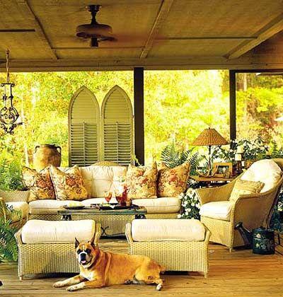 An open air porch with wicker furniture.Decor Ideas, Porches Decor, Screens Porches, Outdoor Living,  Eating House'S, Wicker Furniture, Living Room, Outdoor Room, Covers Porches