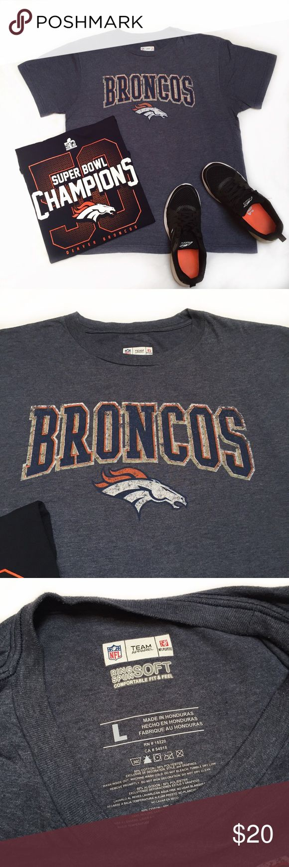 NFL Denver BRONCOS peyton manning shirt NFL Official Denver Broncos Tshirt • BRONCOS COUNTRY baby! • Size: Large • Official NFL DENVER BRONCOS shirt! • Broncos logo on the front! • Peyton Manning #18 name & number on the back! • Ring Spun and super soft! • Has some stretch to it! • Material: 50% Cotton and 50% Polyester • EXCELLENT condition. Worn & washer a few times but feels Brand New! NFL Tops Tees - Short Sleeve
