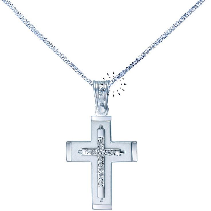 Σταυρός 14 Καράτια Λευκόχρυσο με Ζιρκόν ΤΡΙΑΝΤΟΣ  449€  http://www.kosmima.gr/product_info.php?products_id=15667