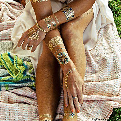 Flash Tattoos Isabella Authentic Metallic Temporary Jewel...