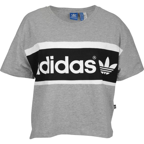 adidas originals crop t shirt women 39 s 40 cad liked on polyvore featuring tops t shirts. Black Bedroom Furniture Sets. Home Design Ideas