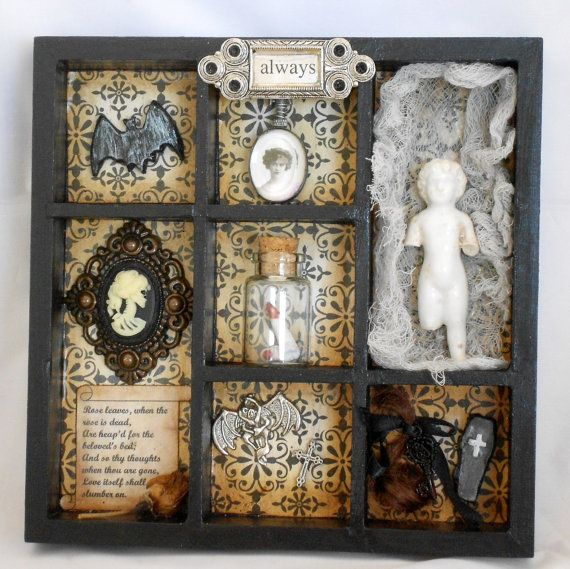 victorian gothic vampire hunter shadow box..i must make one for halloween..