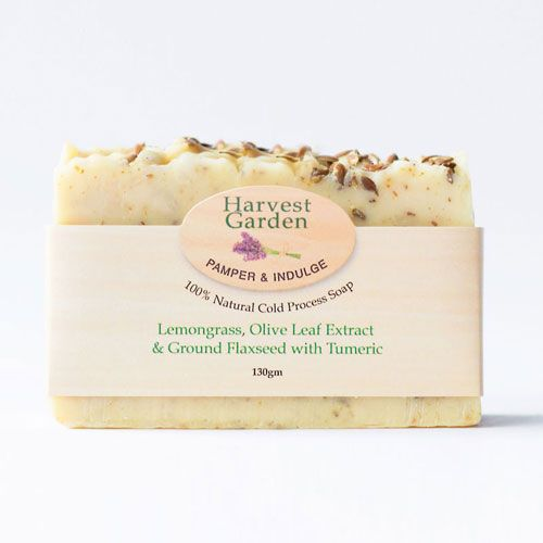 Lemongrass, Olive Leaf Extract & Ground Flaxseed Soap