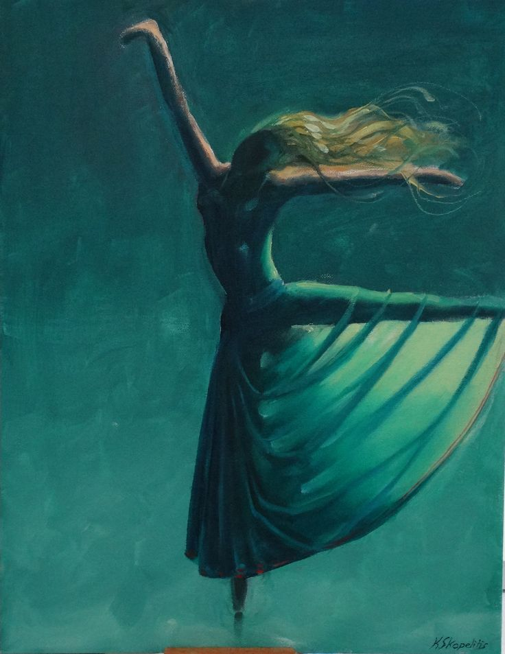 Artist's description: What would it be like,if a ballet dancer danced at the bottom of a lake......? Probably something like this...... Materials used: Oil on canvas board