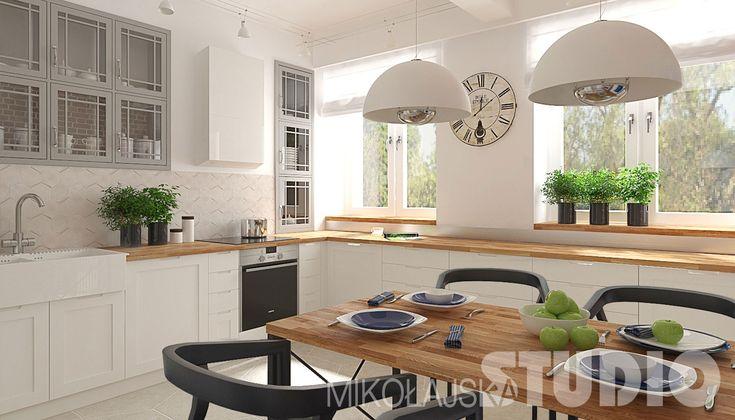 Jasna przestronna kuchnia w stylu vintage #wnętrza