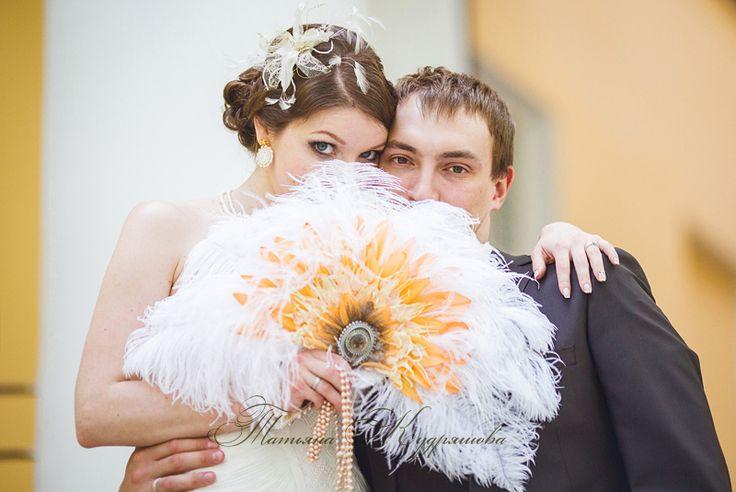 букет-веер для свадьбы в стиле ретро
