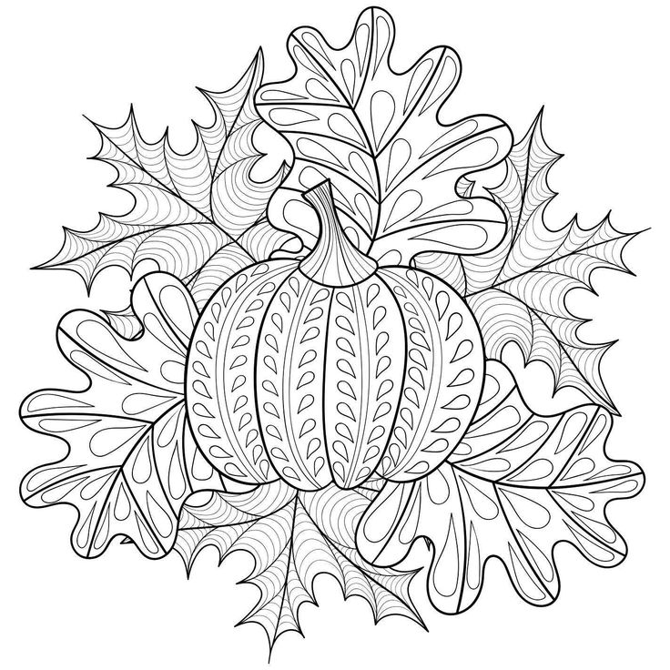 Halloween Pumpkins Coloring Page Stock Illustration