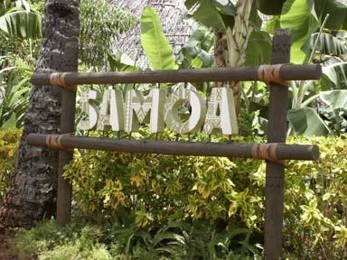 Village of Samoa sign of the Polynesian Cultural Center