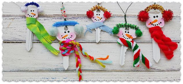 Recycled Key Snowman Ornaments - Crafts by Amanda