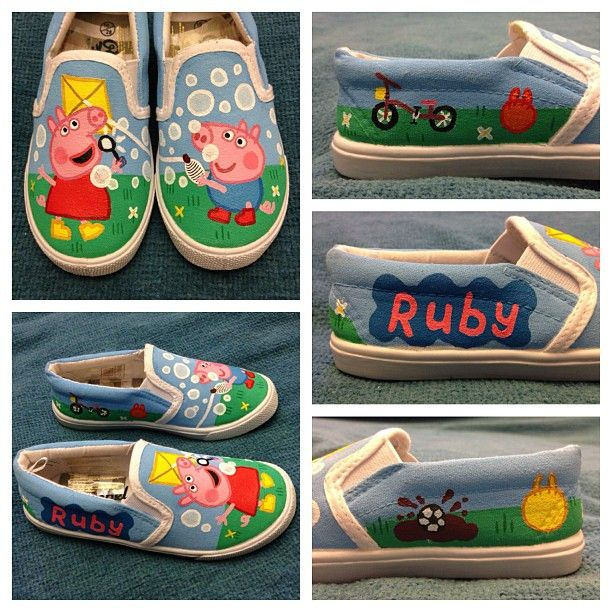 Hand painted Peppa Pig shoes
