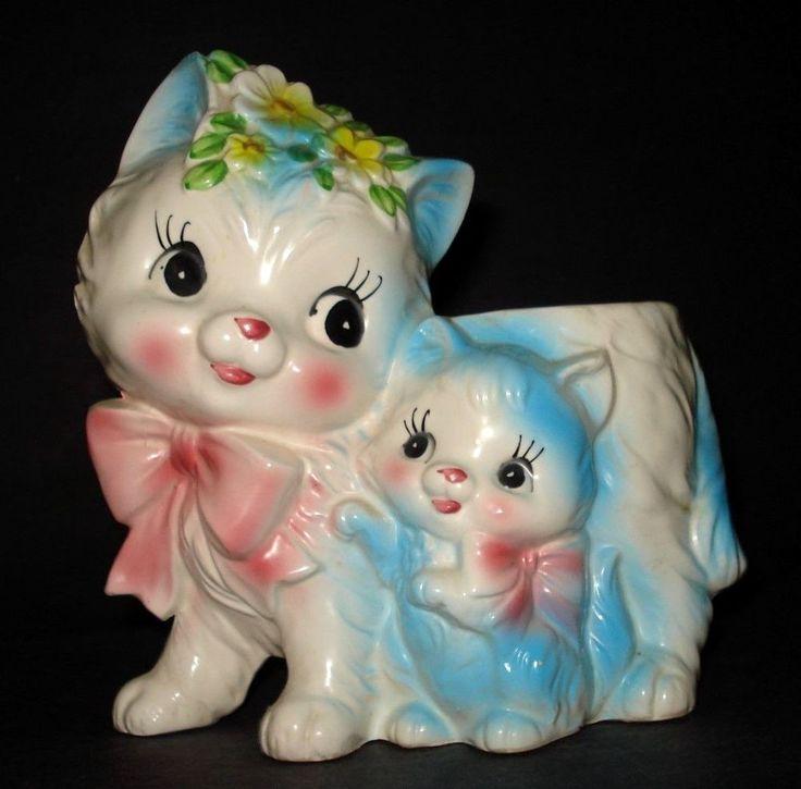 VTG 1950s Lefton Japan BLUE MISS PRISS CAT & BABY KITTEN CERAMIC PLANTER E-9336 #Lefton