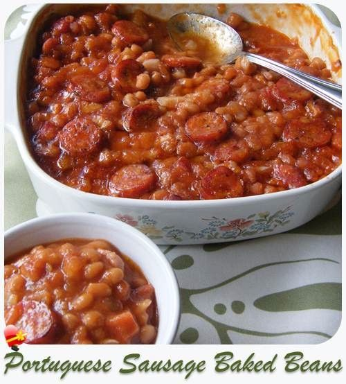 Local style Portuguese sausage baked beans that your family will love. Get more island style recipes here.