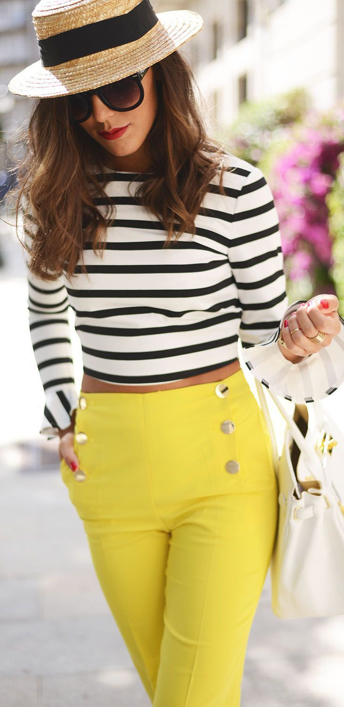 Zara Yellow Button Detail Skinny Trousers