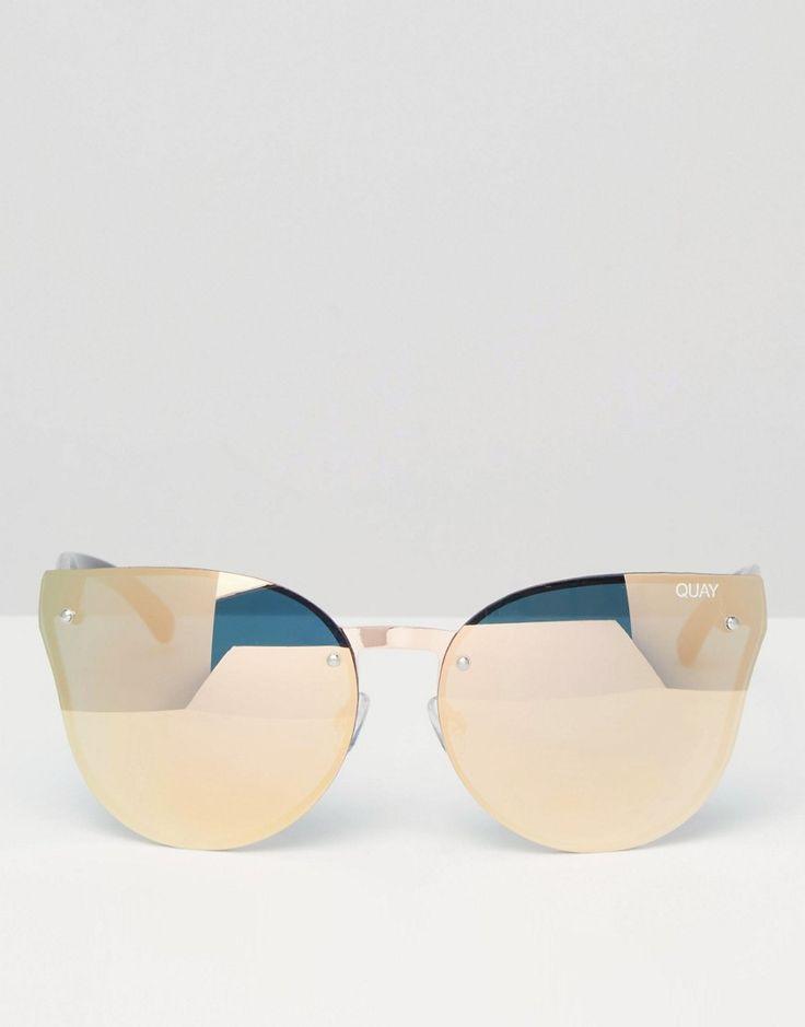 Bild 2 von Quay Australia – Higher Love – Verspiegelte Katzenaugen-Sonnenbrille ohne Rahmen in Roségold