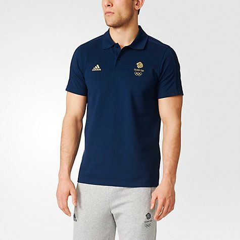 Buy Adidas Team GB Men's Polo Shirt, Navy/Gold Online at johnlewis.com