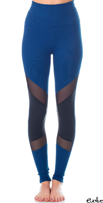 High-waist, royal blue leggings will have everyone turning their heads! Shop Beyond Yoga now at www.evolvefitwear.com.