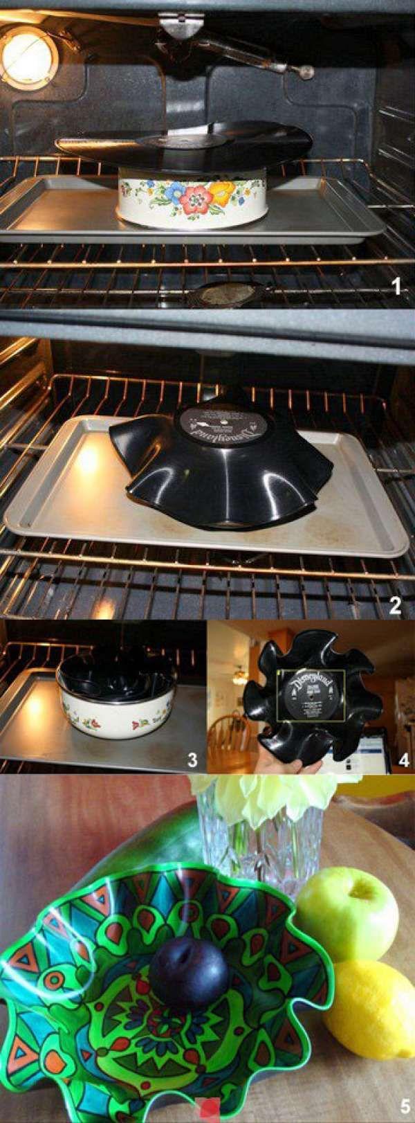 Une corbeille à fruits avec un vieux vinyle. 12 créations originales à partir de vieux vinyles