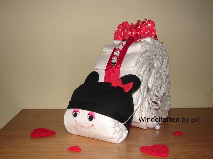 Minnie Mouse diaper cake -  Windelmaus 'Minnie Mouse', von Windeltorten By Evi auf DaWanda.com