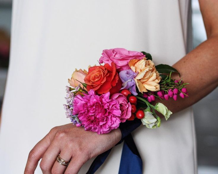 Bright floral corsage for a spectacular wedding earlier this year. We had a blast creating pieces as bright and fun as the gorgeous couple.