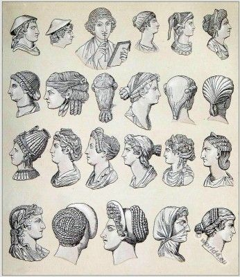 Ancient Roman hairstyles and head-dresses. Antique greco-roman woman hairstyle and fashion