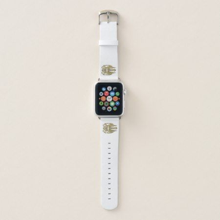 catholic-gold cross white apple watch band - click/tap to personalize and buy.Customize to add text or change color #catholiccross #anglewings #christian #goldcrucifix