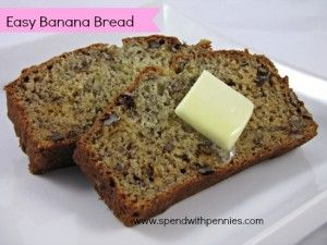This is a very simple banana bread that you can whip up in no time! If your family doesn't like nuts in their bread you can leave them out or replace them with chocolate chips! The batter to this recipe is very thick and you may be tempted to add more...
