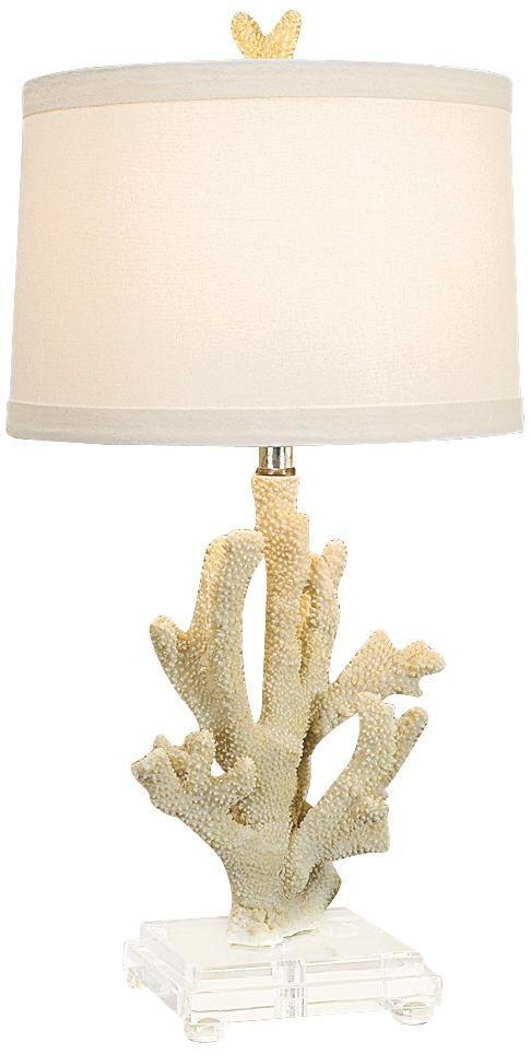 regina andrew white coral on lucite base table lamp. Black Bedroom Furniture Sets. Home Design Ideas