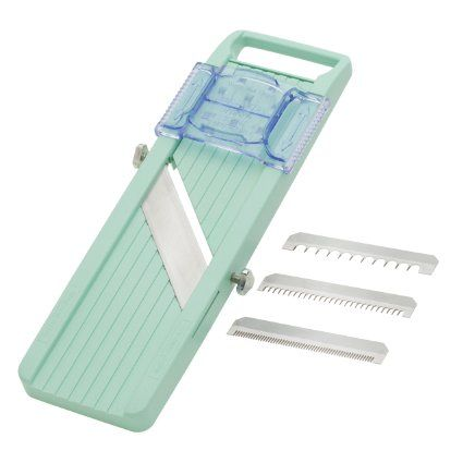 benriner japanese mandoline slicer   Don't be tempted by expensive slicers; this is what all the restaurant kitchens use. It takes up very little space and the blade is impossibly sharp (be careful!). I use it for everything; it's especially good at shaving sturdy winter vegetables (cabbage, fennel, cauliflower) thin enough to be salad-ready.: Kitchens, Amazon Com, Japanese Mandoline, Green, Mandoline Slicer, Kitchen Dining, Mandolineslicer