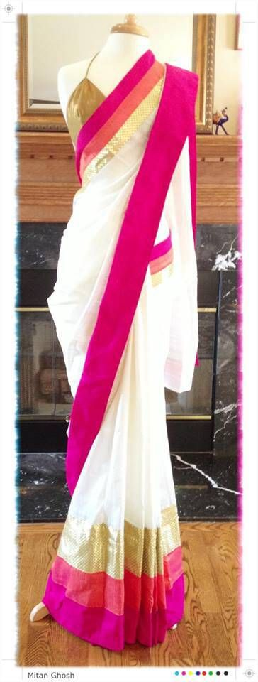 Silk saree with multicolor border= Perfect piece to don on Ashtami morning for Anjali time