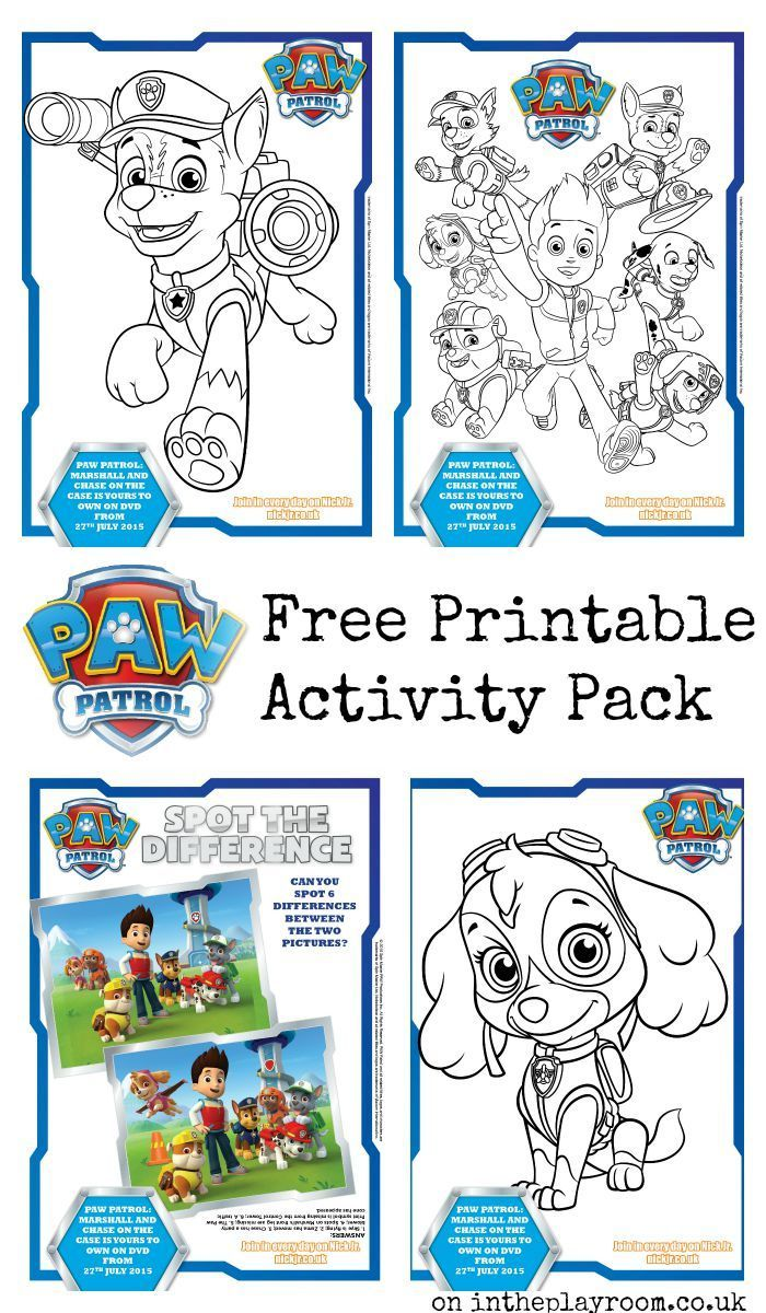 Paw Patrol Colouring Pages and Activity Sheets - In The Playroom