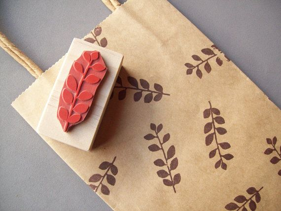 Floral Leaf Rubber Stamp for Patterns Gift Wrap by stampcouture, $8.95