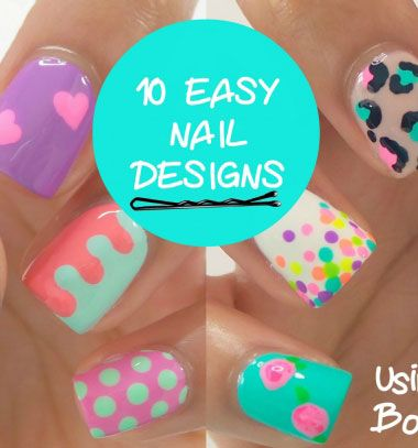 10 Easy nail art design for beginners - painted with a bobby pin // 10 Egyszerű körömlakkozási ötlet - körömfestés hullámcsattal // Mindy - craft tutorial collection // #crafts #DIY #craftTutorial #tutorial
