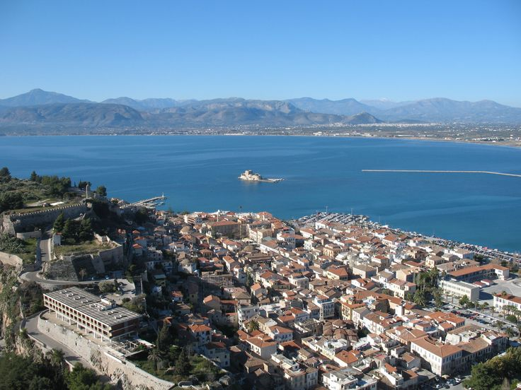 View of Nafplion (in the Peloponnesus) from the Palamidi fortress. Argolic Gulf in the background.