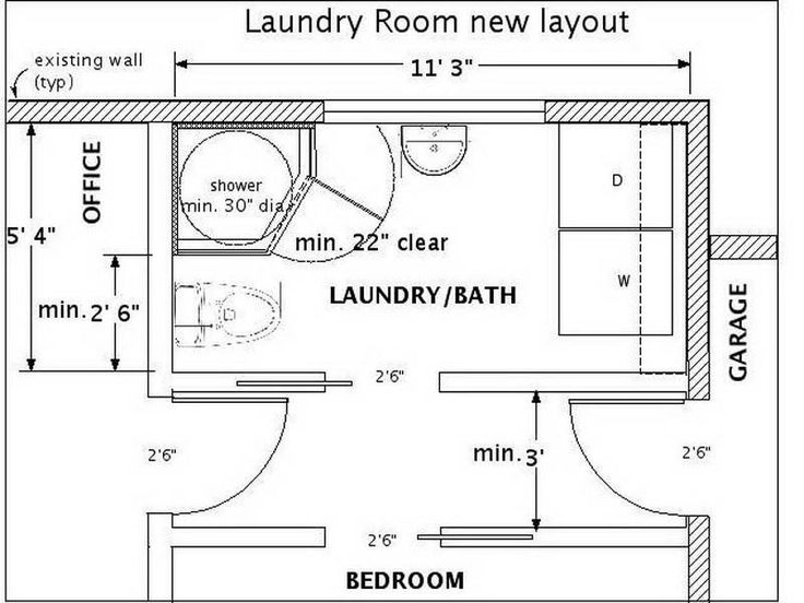 Basement bathroom maybe stack the washer dryer laundry for Half basement house plans