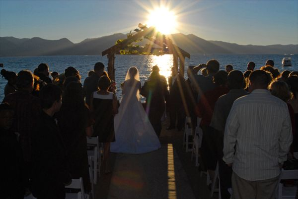 Gorgeous sunset wedding at Lake Tahoe Resort Hotel in South Lake Tahoe! From a gorgeous outdoor ceremony to a glamorous indoor reception, you can't find a better venue for your destination wedding than South Lake Tahoe! #destinationwedding #Tahoewedding www.tahoeweddingsites.com