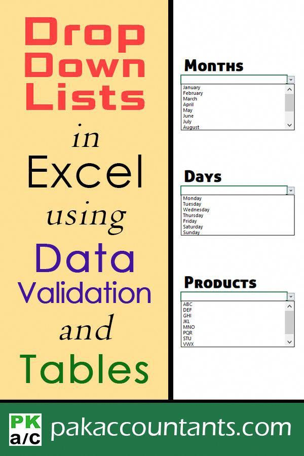 Excel Drop Down List using Data Validation and Excel Tables that