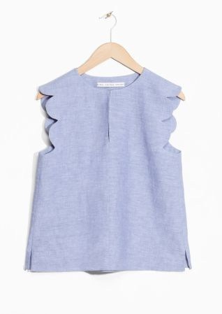 & Other Stories   Scalloped Linen-Chambray Blouse