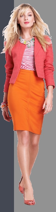 What girl doesn't need a good pencil skirt, and in a fun flirty color to boot?  :D
