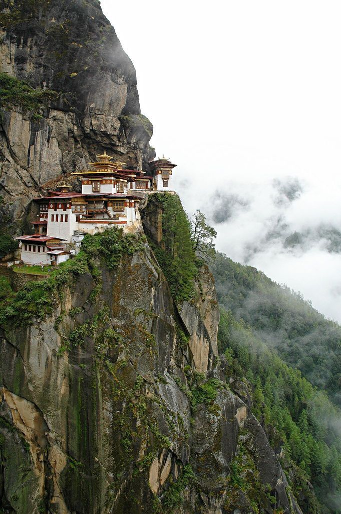 Taktsang (Tiger's Nest) Monastery, considered as one of the sacred monasteries in Bhutan.This monastery is perched on a high and steep granite cliff overlooking the northern Paro valley.