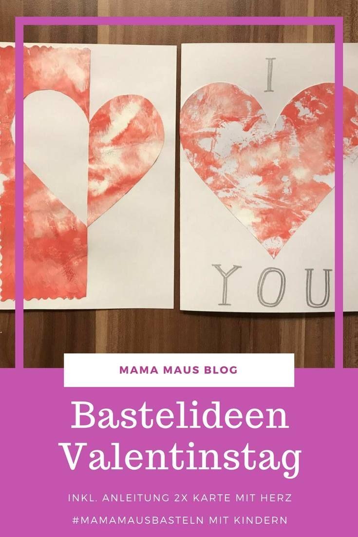 Mamamausbasteln Fur Kinder Valentinstag Karte Mit Herz Mama