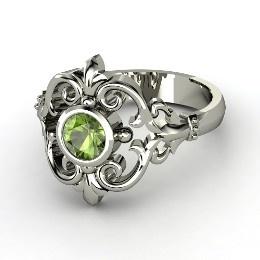 Winter Palace Ring, Round Green Tourmaline Palladium Ring from Gemvara